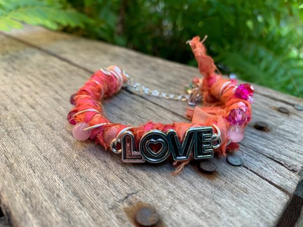 Recycled Orange Pink Love Sari Silk Bangle Bracelet