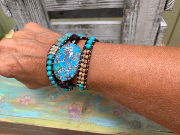 Large Turquoise Stone Picasso Bead Triple Wrap Leather Bracelet