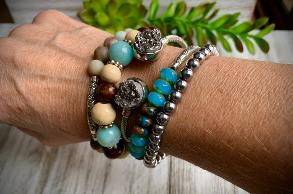 Amazonite Silver Druzy Jasper Stackable Set of 5