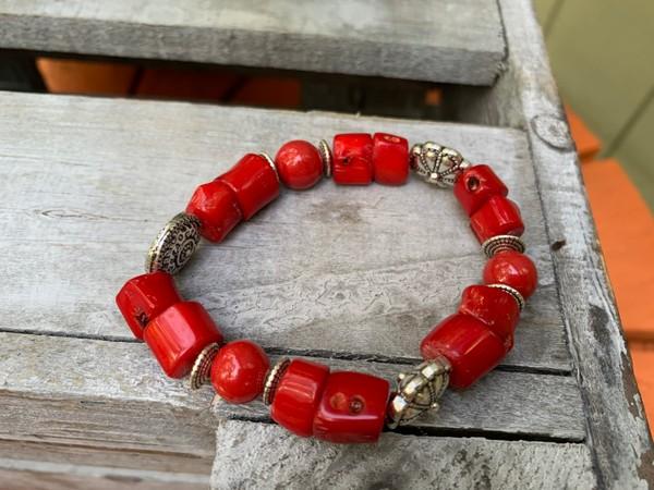 Red Bamboo Ceramic Beaded Stretch Bracelet