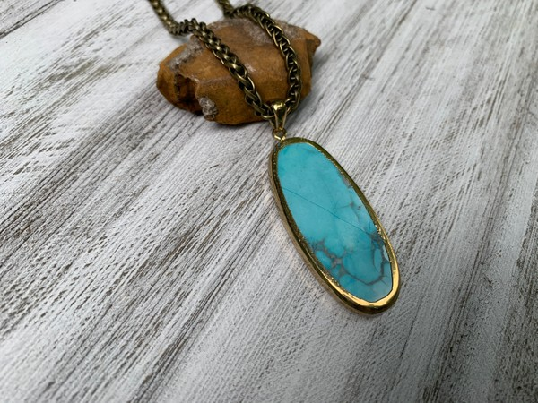 """Blue Turquoise Howlite Oval Gemstone Bronze Rope Chain 28"""" inch Necklace"""