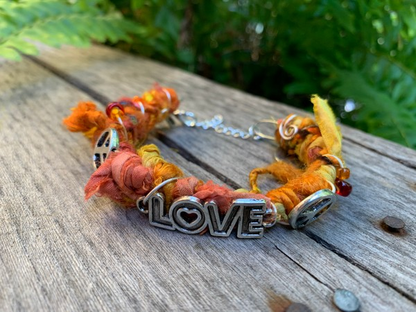 Recycled Orange Sunset Love Peace Sari Silk Bangle Bracelet