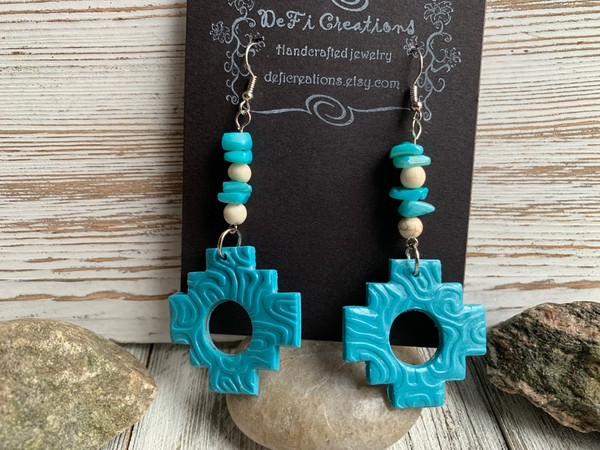 Turquoise Aztec Clay Dangling Earrings