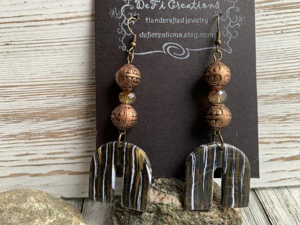 Arc Clay Grey/Twinkle White/Gold Copper Orange Earrings