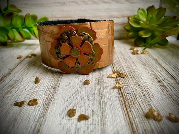 Golden Dragon Metallic Leather Flower Design Cuff