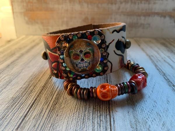Orange Ed Hardy Sugar Skull Concho Cuff Bracelet