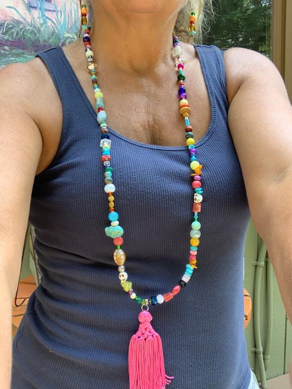 """Fiesta BoHo Pink Tassel 44"""" Necklace"""