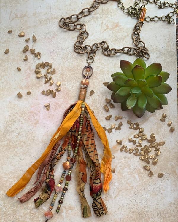 Sari Silk Tassel Earthtone Bronze Necklace