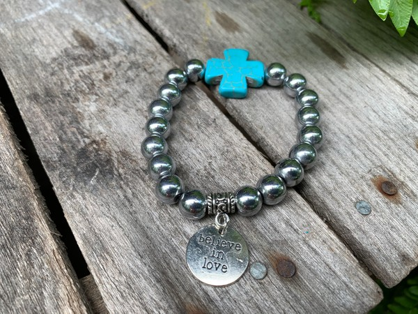 Turquoise Cross Silver Hematite 10mm Stone