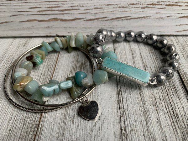 Amazonite Silver Druzy Turquoise Pendant Stackable Bracelets (Set of 4)