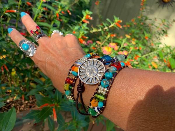 Blue Agate Pewter Sun Triple Leather Wrap Bracelet