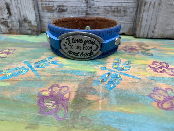 Upcycled Patina Blue Leather I Love You to the Moon and Back Cuff Bracelet