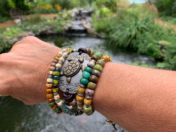 Sea Turtle Pendant Leather Colorful Picasso Bead Wrap