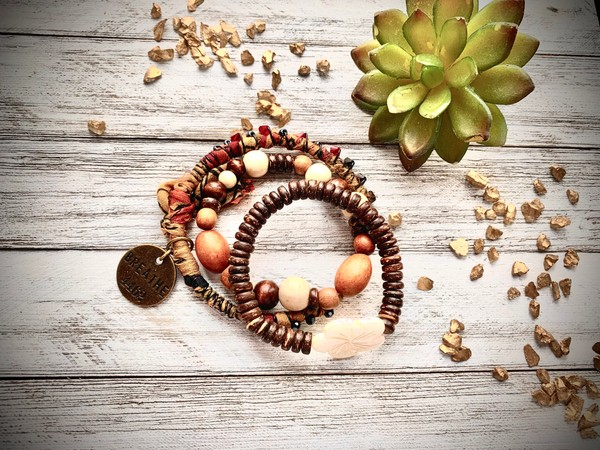 Earthtone Sari Silk Breathe BoHo Bangle Stretch Bracelets (Set of 3)