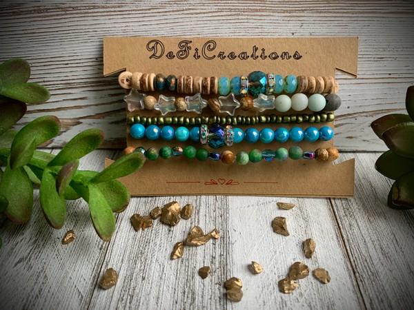 Set of 5 Aqua Glass Amazonite Star Stretch Bracelets