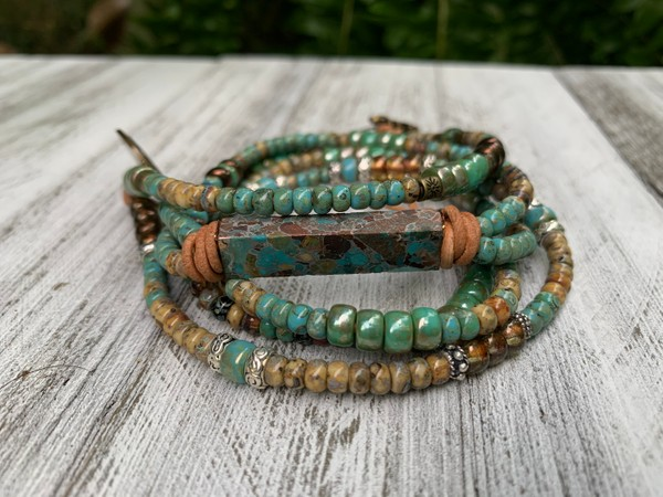 Turquoise Gemstone Leather Wrap Picasso Bead Wrap Bracelet/Necklace