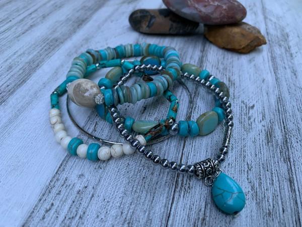 Turquoise Aqua Silver Stretch and Bangle Bracelets