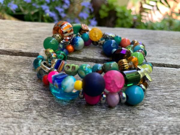 Multicolored Summer Fiesta Beaded Stretch Bracelets (Set of 3)
