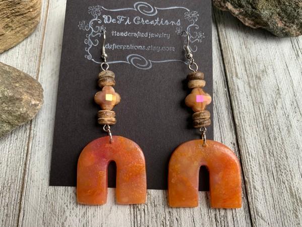 Arc Translucent Orange Clay Crystal Bead Wood Earrings