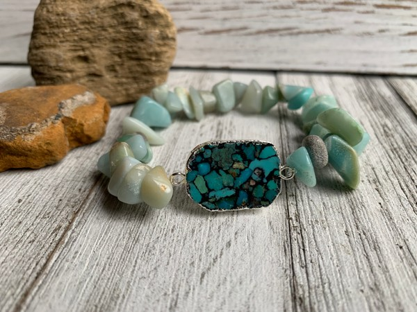 Amazonite Ocean Blue Silver Turquoise Bracelet