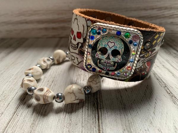 Upcycled Ed Hardy Leather Cabochon Sugar Skull Cuff Bracelet