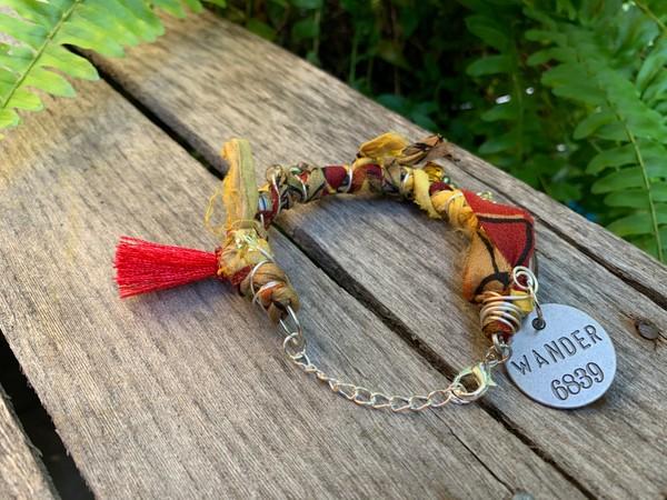 Recycled Orange Tan Earthtone Wander Sari Silk Bangle Bracelet