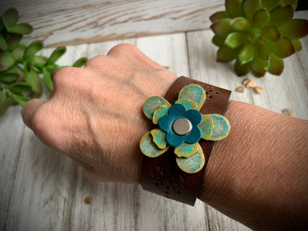 Upcycled Leather Flower Pendant Cuff