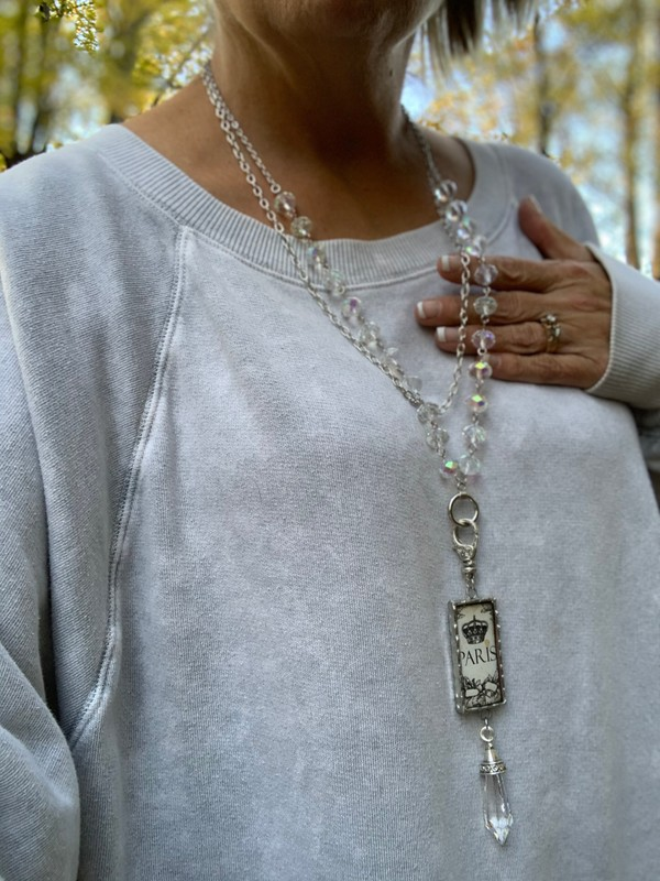 Crystal Glass 8mm x 12mm Rosary Style Pendant Necklace
