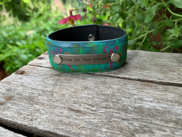 Live In The Moment Upcycled Leather Cuff
