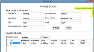 which a user can enter a phone book entry