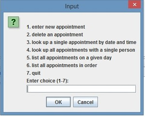 OrderedListEx to store your appointments Java