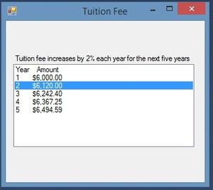 Tuition fee Increase C#