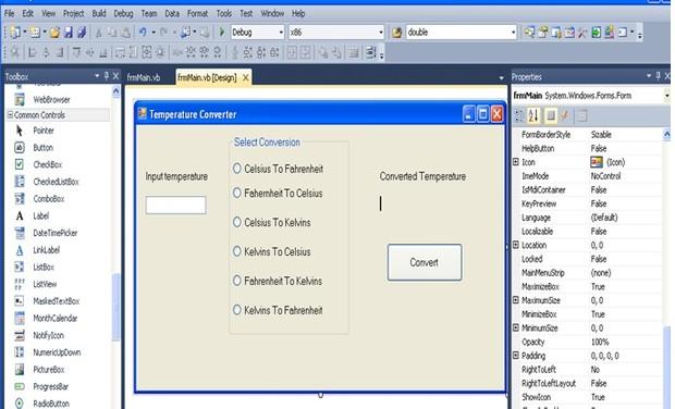 Temprature Converter Visual Studio project
