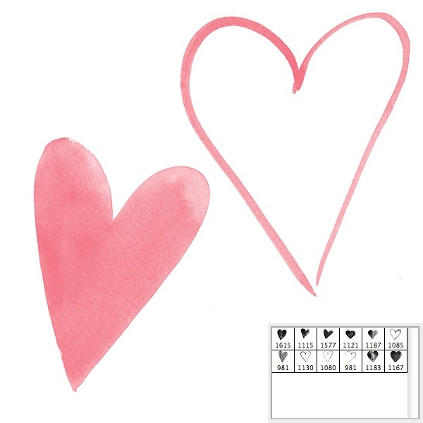 photoshop brushes - watercolor hearts large