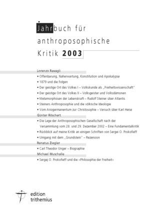 Jahrbuch für anthroposophische Kritik 2003