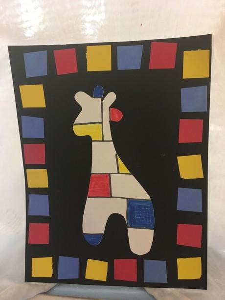 Mondrian-Inspired Giraffe (Shipped)