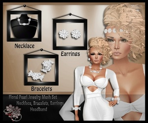 Floral Pearl Jewelry Mesh Set