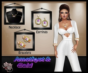 Amethyst & Gold Jewelry Mesh Set