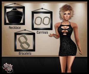 Glittering Onyx Jewelry Mesh Set