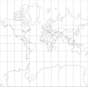 World Map-Mercator Projection