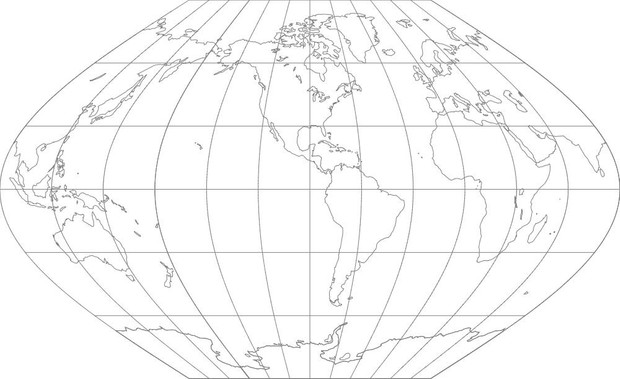 World Map-Winkel I Projection