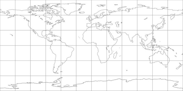 World Map-Equidistant Cylindrical Projection