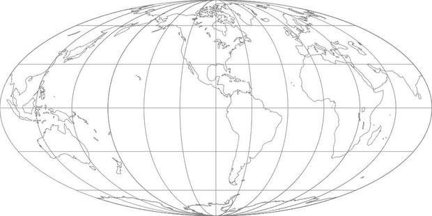 World Map-Mollweide Projection