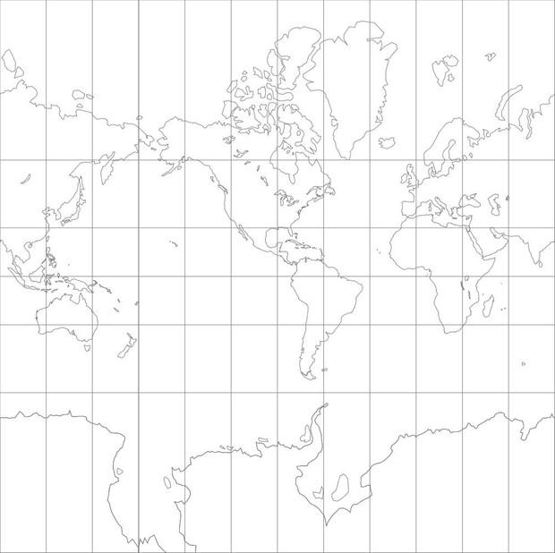 World Map-Mercator Projection