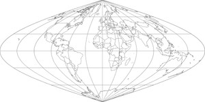 World Map-Sinusoidal Projection