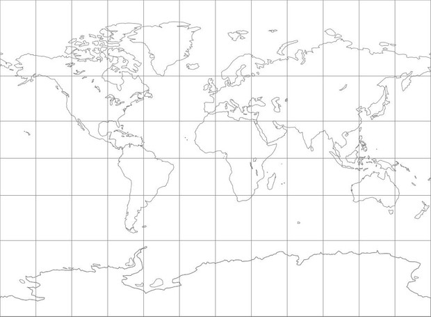World Map-Miller Cylindrical Projection