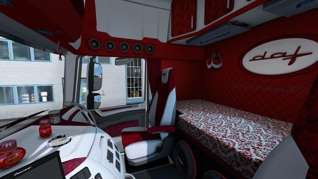 Interior DAF Euro 6 HOLLAND DANISH RED ETS 2