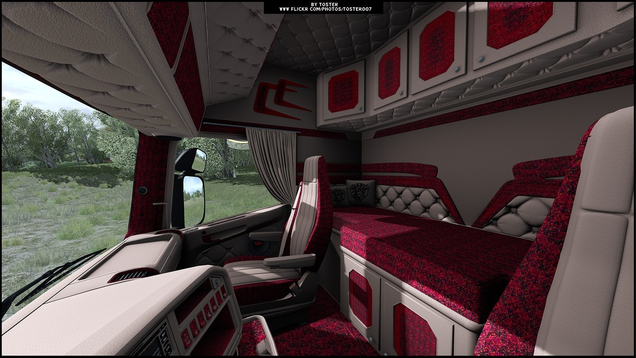 Interior Scania RJL RED HOLLAND ETS 2 #17 - TosteR007 Custom