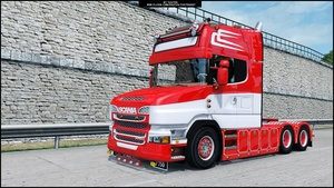Scania V8 T Red Custom ETS 2 + Trailer