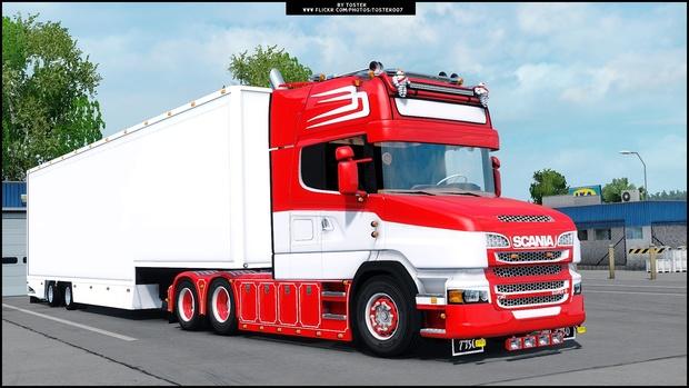 Scania V8 T Red Custom ETS 2 + Trailer